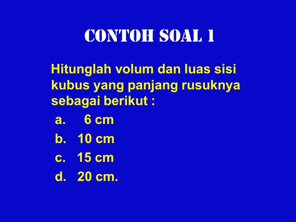 Contoh Soal 1 Hitunglah volum dan luas sisi kubus yang panjang rusuknya sebagai berikut : a. 6 cm.