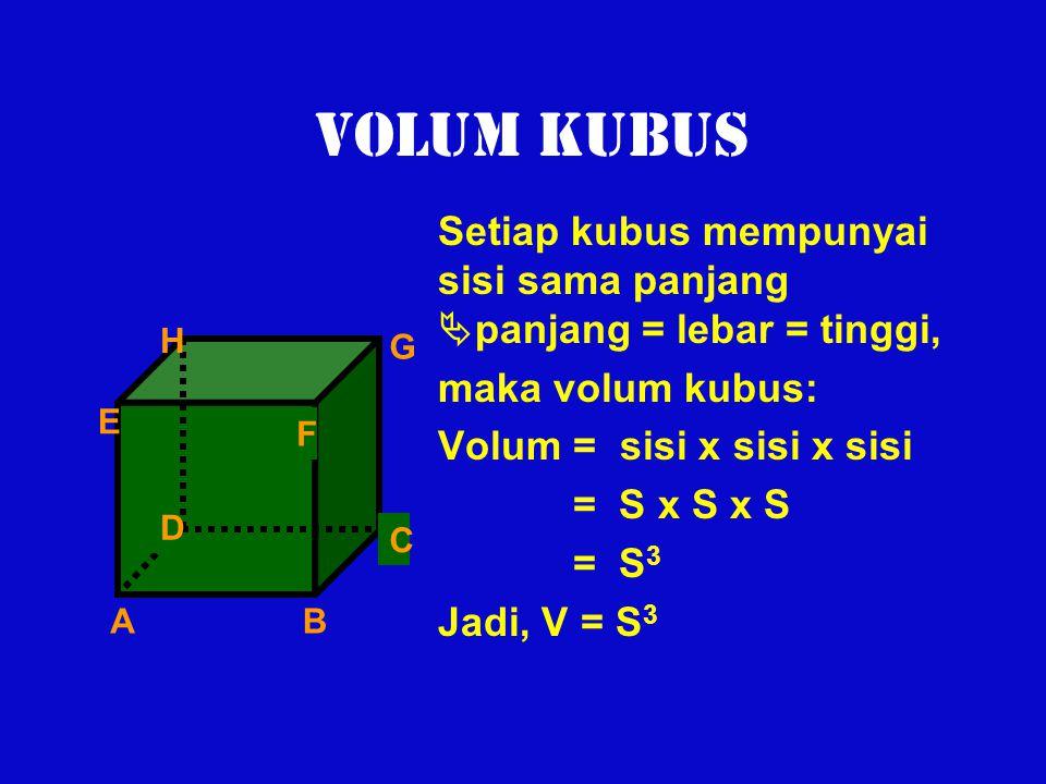 VOLUM KUBUS Setiap kubus mempunyai sisi sama panjang panjang = lebar = tinggi, maka volum kubus: Volum = sisi x sisi x sisi.