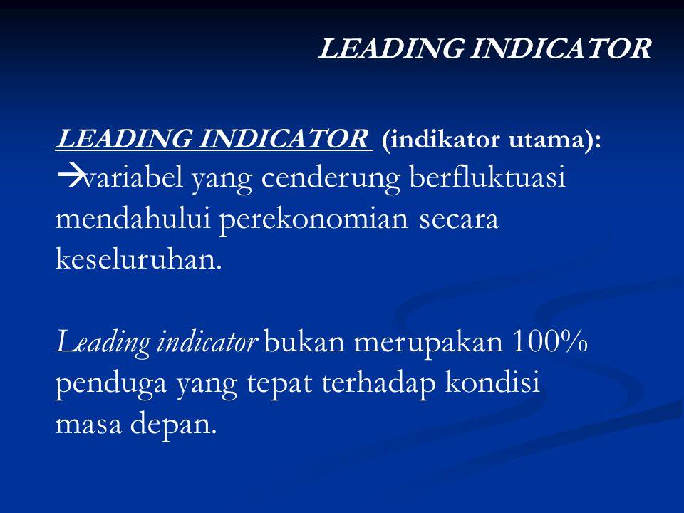 LEADING INDICATOR LEADING INDICATOR (indikator utama): variabel yang cenderung berfluktuasi mendahului perekonomian secara keseluruhan.