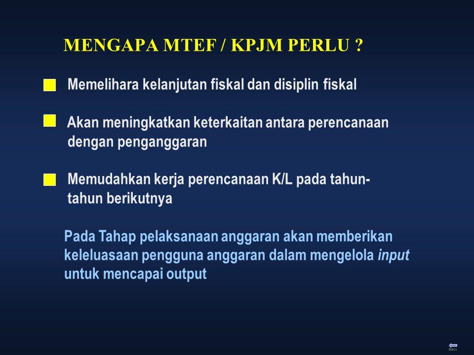 MENGAPA MTEF / KPJM PERLU