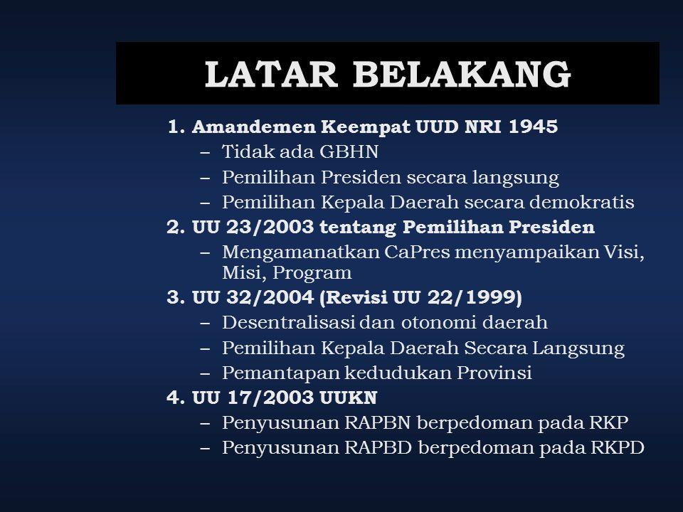 LATAR BELAKANG 1. Amandemen Keempat UUD NRI 1945 Tidak ada GBHN