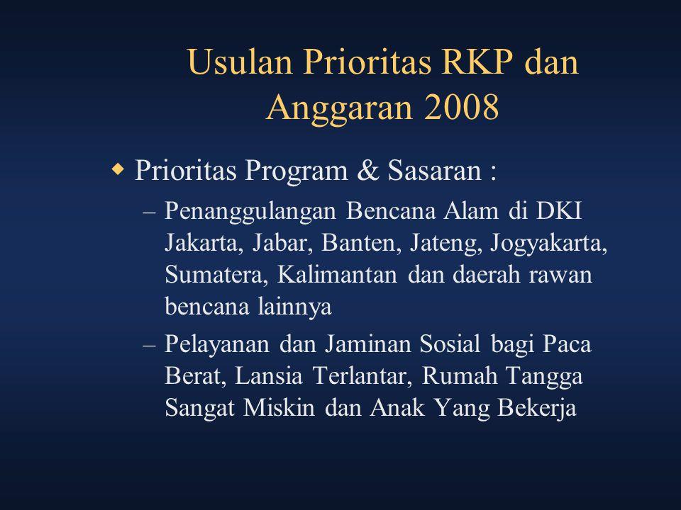 Usulan Prioritas RKP dan Anggaran 2008