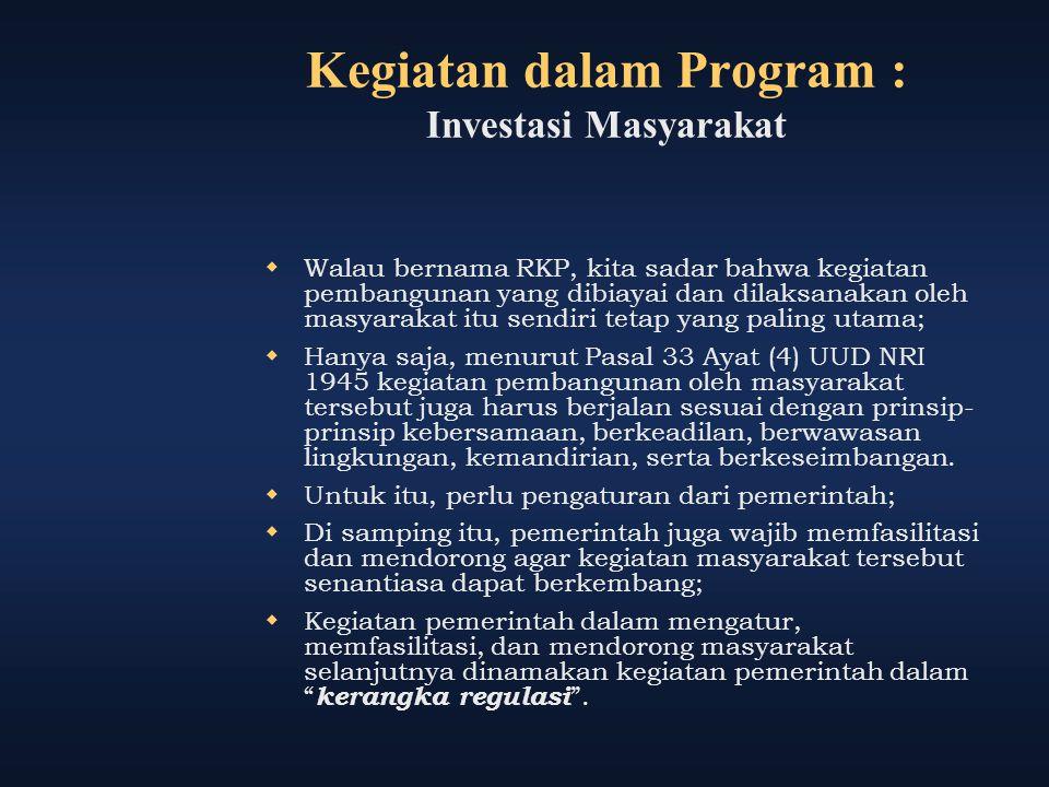 Kegiatan dalam Program : Investasi Masyarakat