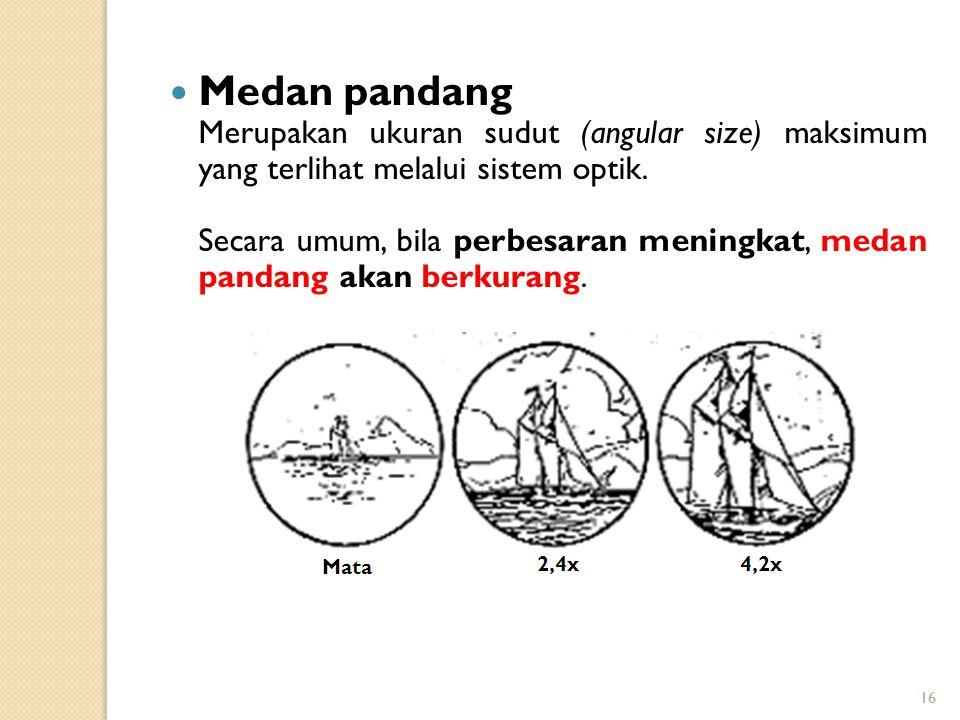 Medan pandang Merupakan ukuran sudut (angular size) maksimum yang terlihat melalui sistem optik.