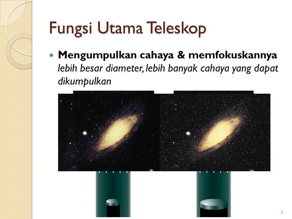 Fungsi Utama Teleskop Mengumpulkan cahaya & memfokuskannya