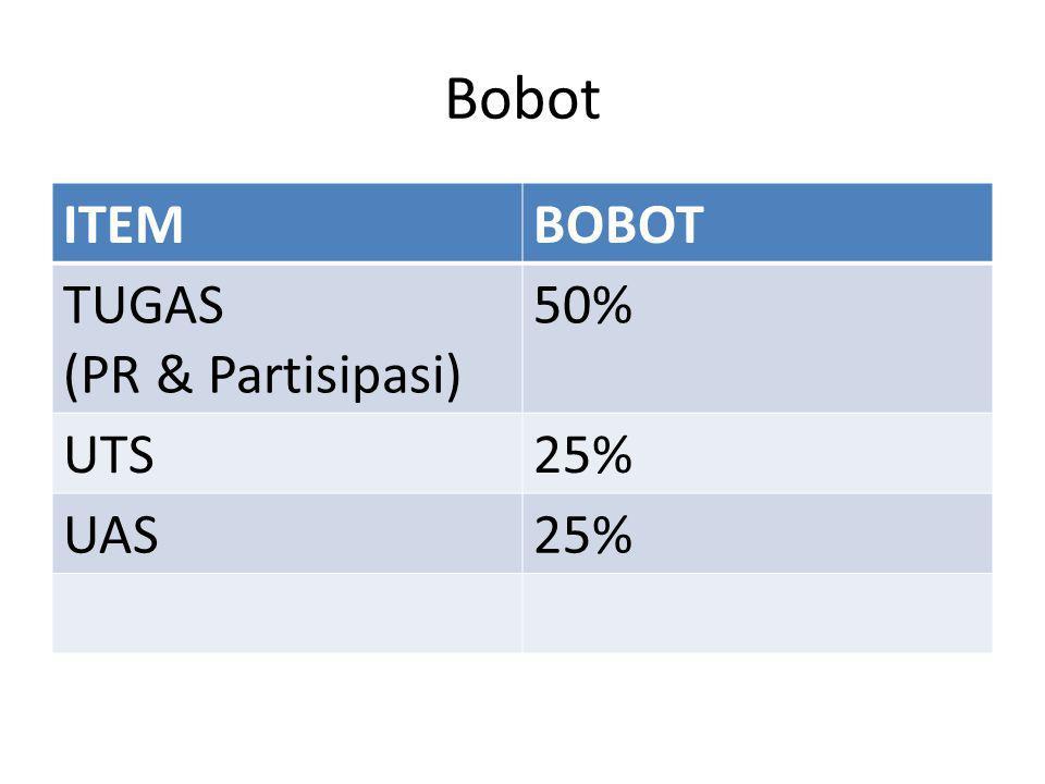 Bobot ITEM BOBOT TUGAS (PR & Partisipasi) 50% UTS 25% UAS
