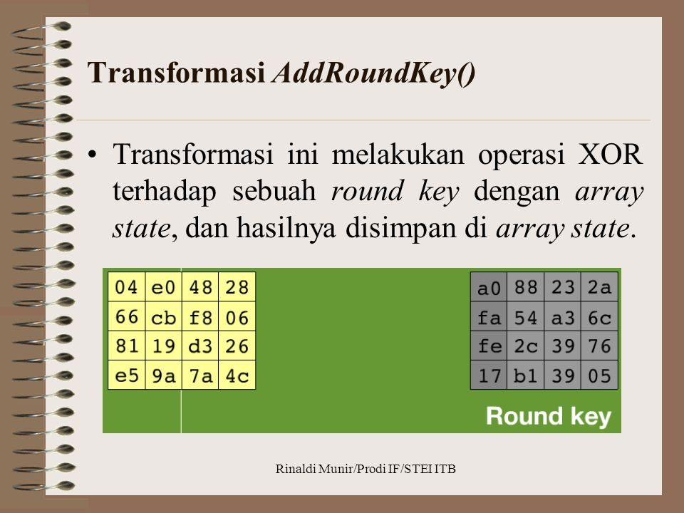 Transformasi AddRoundKey()