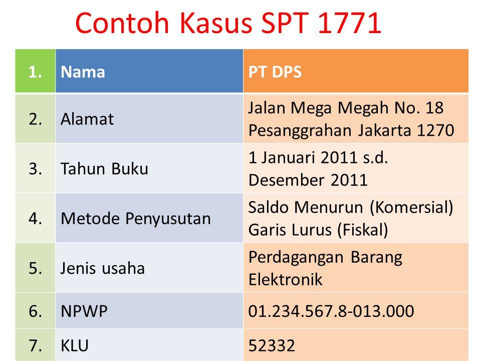 Contoh Kasus SPT 1771 1. Nama PT DPS 2. Alamat