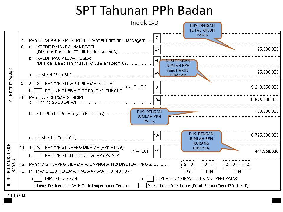 SPT Tahunan PPh Badan Induk C-D