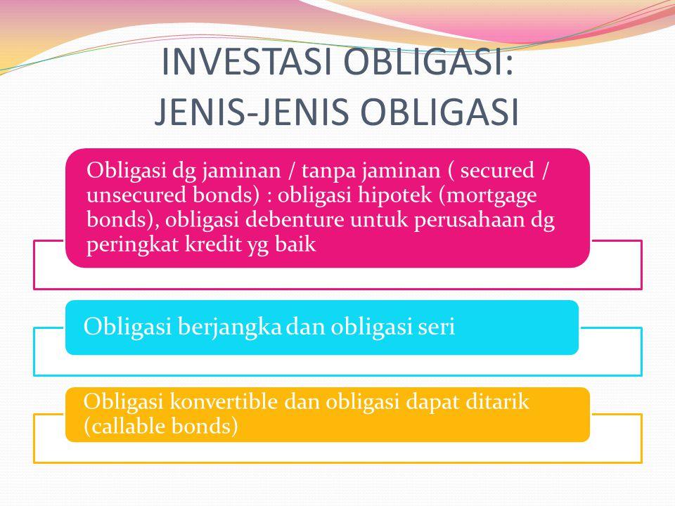 INVESTASI OBLIGASI: JENIS-JENIS OBLIGASI