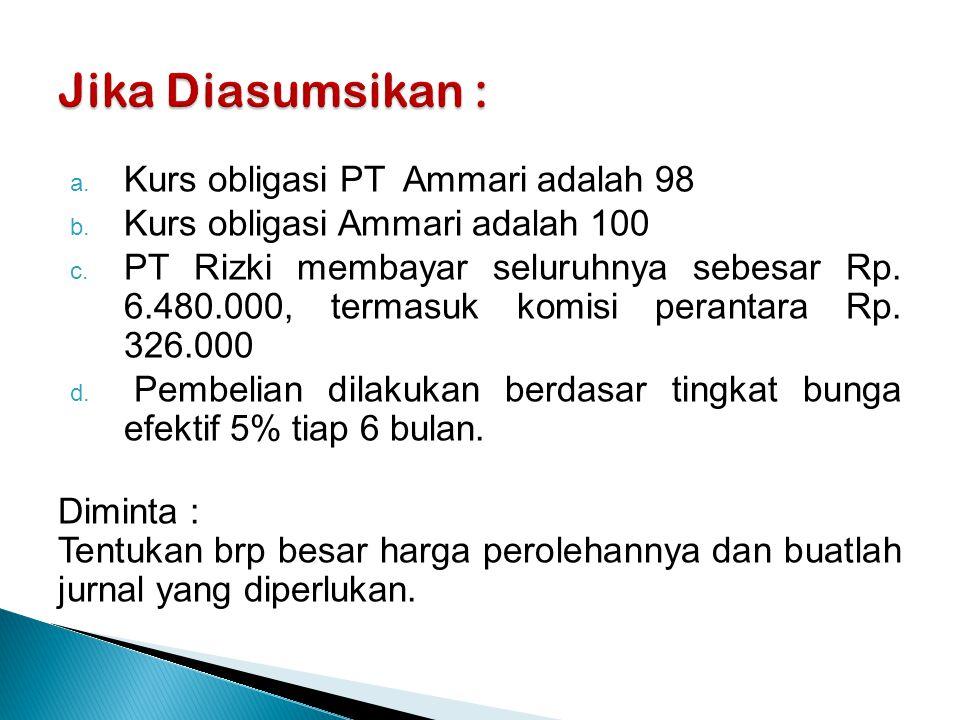 Jika Diasumsikan : Kurs obligasi PT Ammari adalah 98