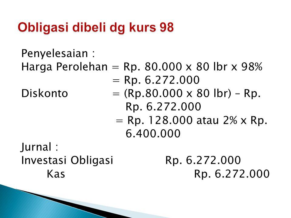 Obligasi dibeli dg kurs 98