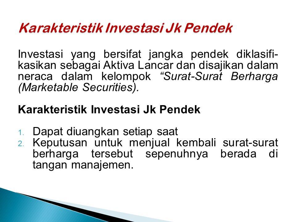 Karakteristik Investasi Jk Pendek