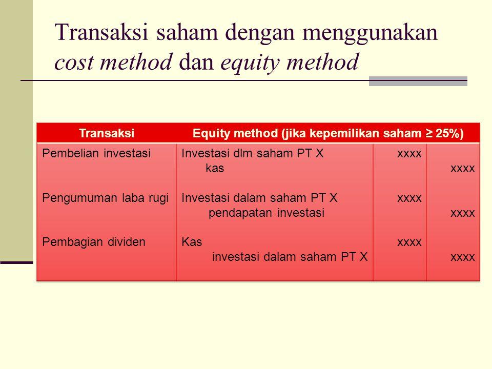 Transaksi saham dengan menggunakan cost method dan equity method