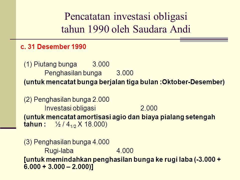 Pencatatan investasi obligasi tahun 1990 oleh Saudara Andi