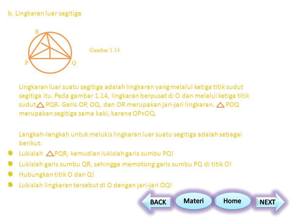 b. Lingkaran luar segitiga