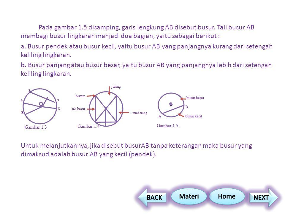 Pada gambar 1. 5 disamping, garis lengkung AB disebut busur