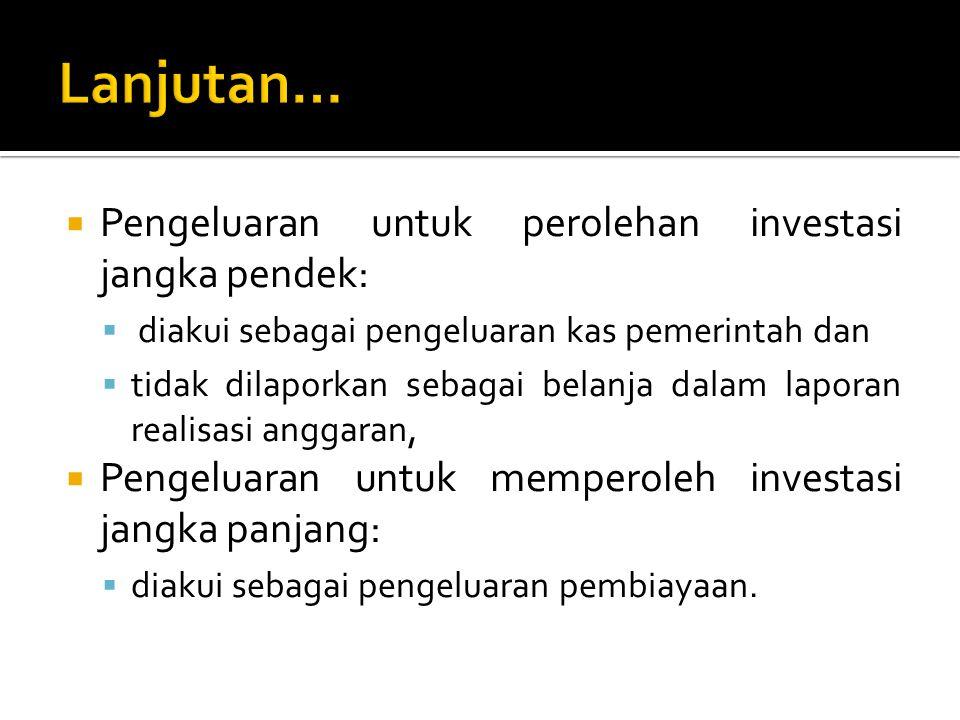 Lanjutan… Pengeluaran untuk perolehan investasi jangka pendek: