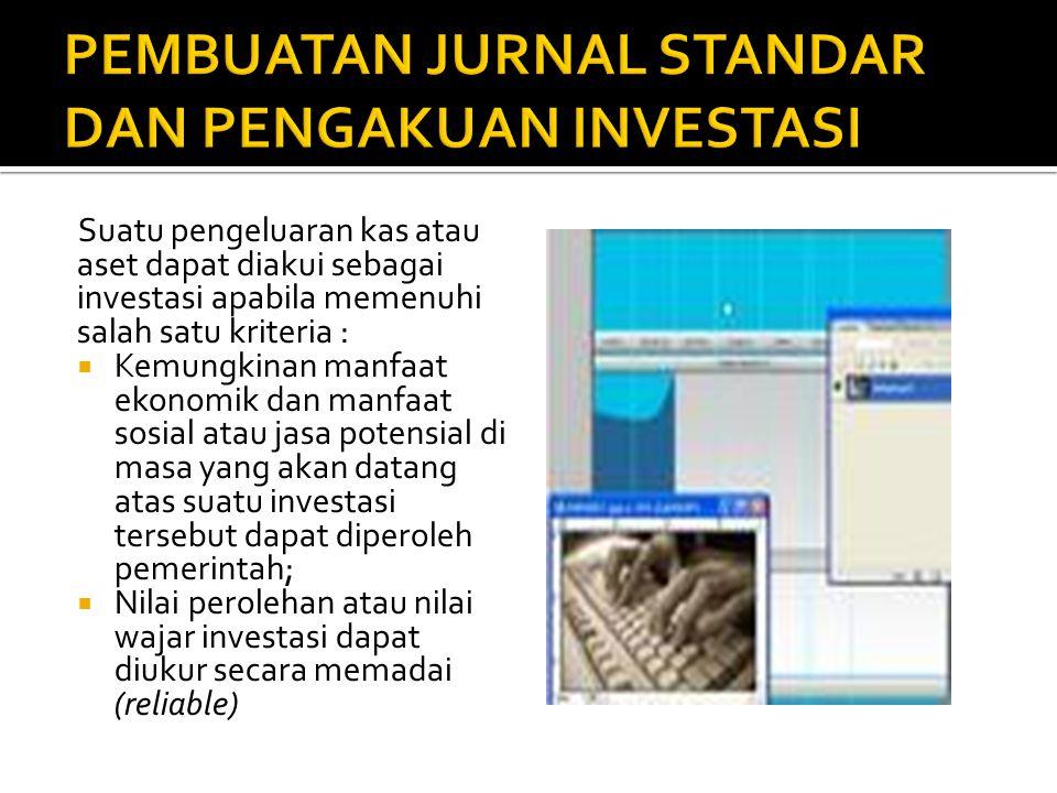 PEMBUATAN JURNAL STANDAR DAN PENGAKUAN INVESTASI