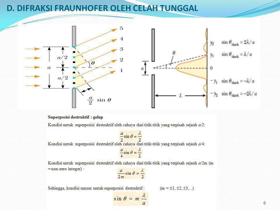 D. DIFRAKSI FRAUNHOFER OLEH CELAH TUNGGAL
