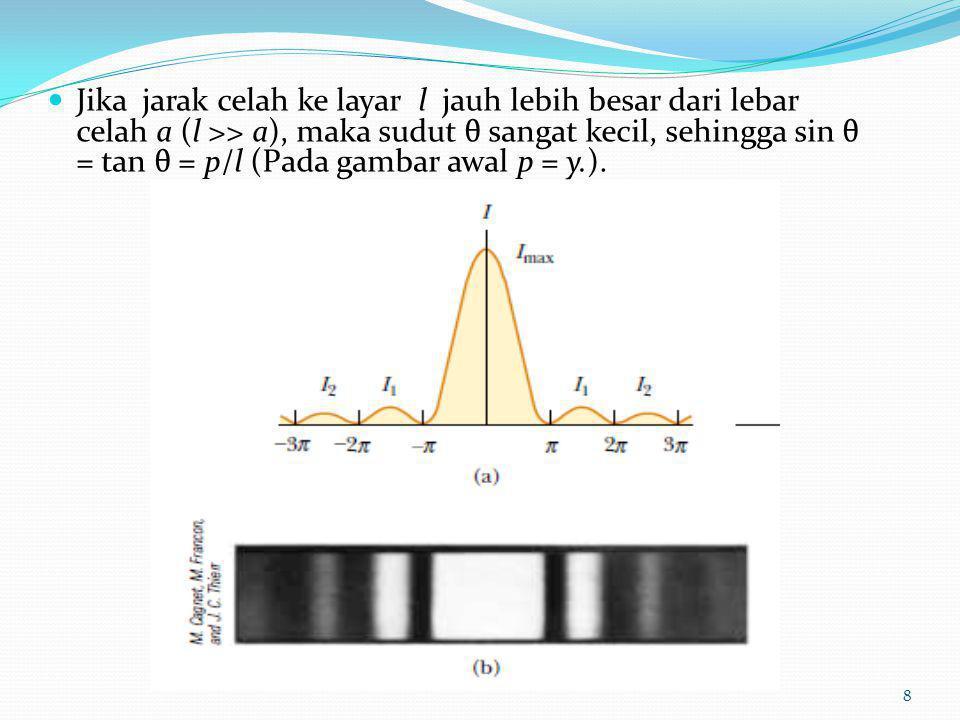 Jika jarak celah ke layar l jauh lebih besar dari lebar celah a (l >> a), maka sudut θ sangat kecil, sehingga sin θ = tan θ = p/l (Pada gambar awal p = y.).