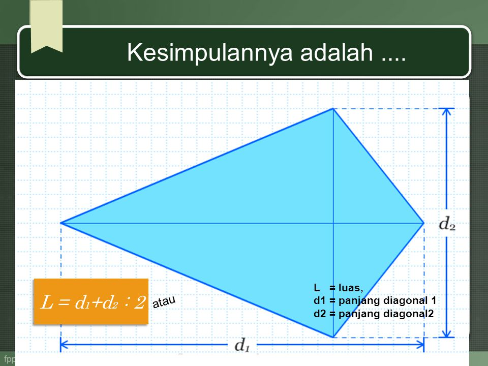 Kesimpulannya adalah .... L = d1+d2 : 2 atau L = luas,