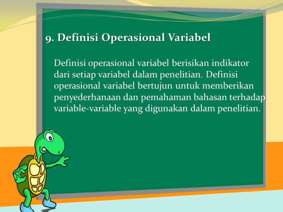 9. Definisi Operasional Variabel