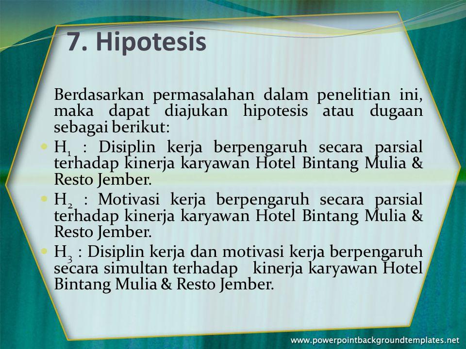7. Hipotesis Berdasarkan permasalahan dalam penelitian ini, maka dapat diajukan hipotesis atau dugaan sebagai berikut: