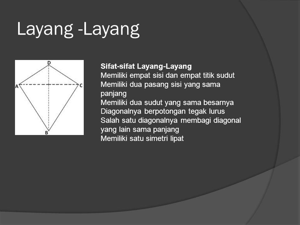 Layang -Layang Sifat-sifat Layang-Layang Memiliki empat sisi dan empat titik sudut. Memiliki dua pasang sisi yang sama panjang.