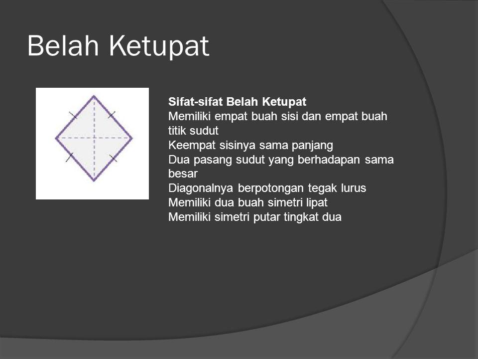 Belah Ketupat Sifat-sifat Belah Ketupat Memiliki empat buah sisi dan empat buah titik sudut. Keempat sisinya sama panjang.