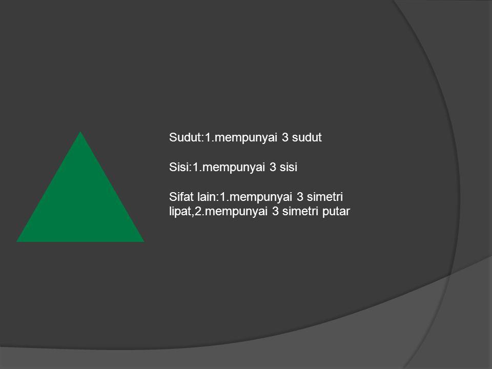 Sudut:1.mempunyai 3 sudut