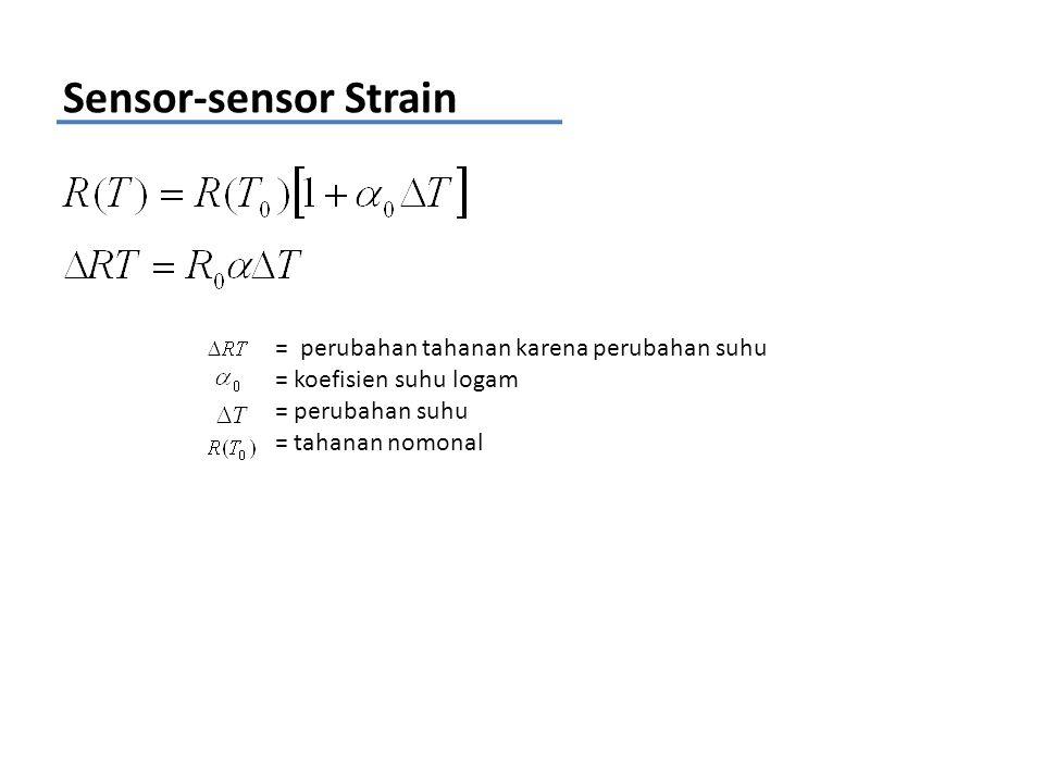 Sensor-sensor Strain = perubahan tahanan karena perubahan suhu