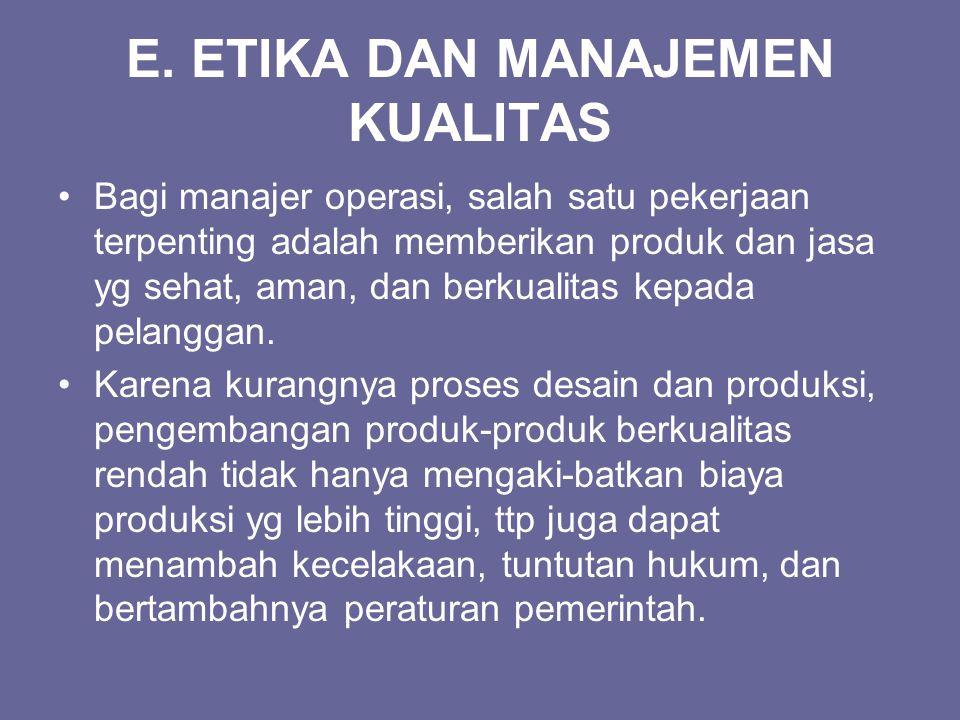 E. ETIKA DAN MANAJEMEN KUALITAS