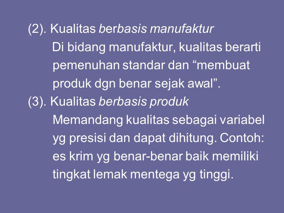 (2). Kualitas berbasis manufaktur