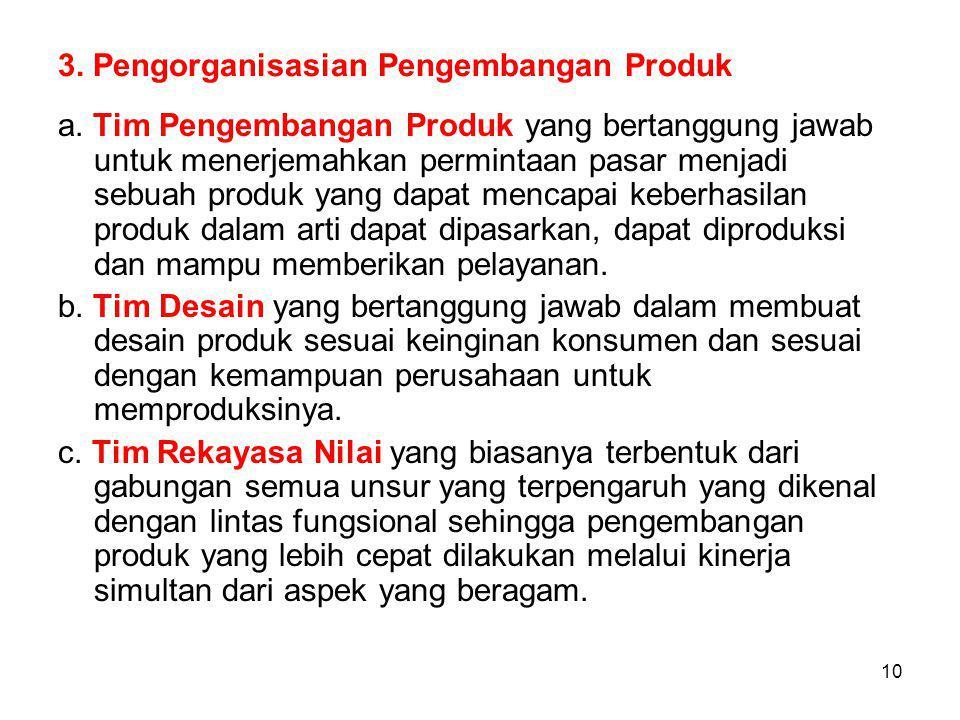 3. Pengorganisasian Pengembangan Produk