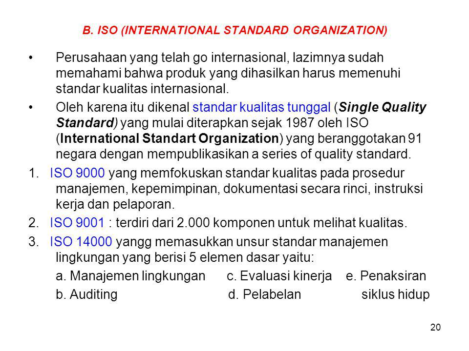 B. ISO (INTERNATIONAL STANDARD ORGANIZATION)