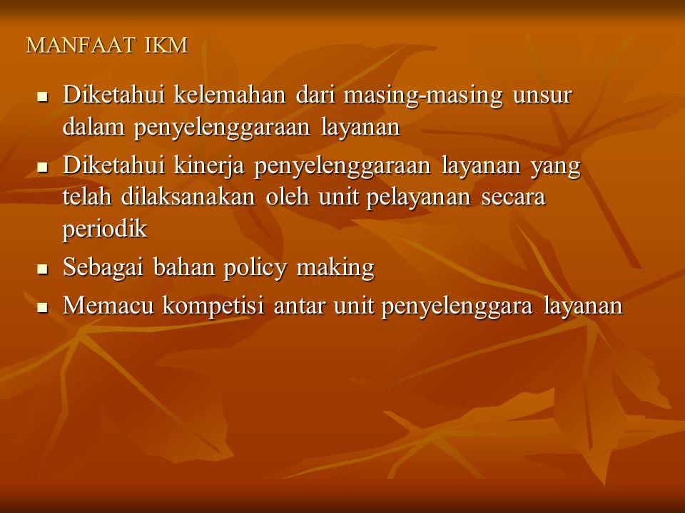 Sebagai bahan policy making