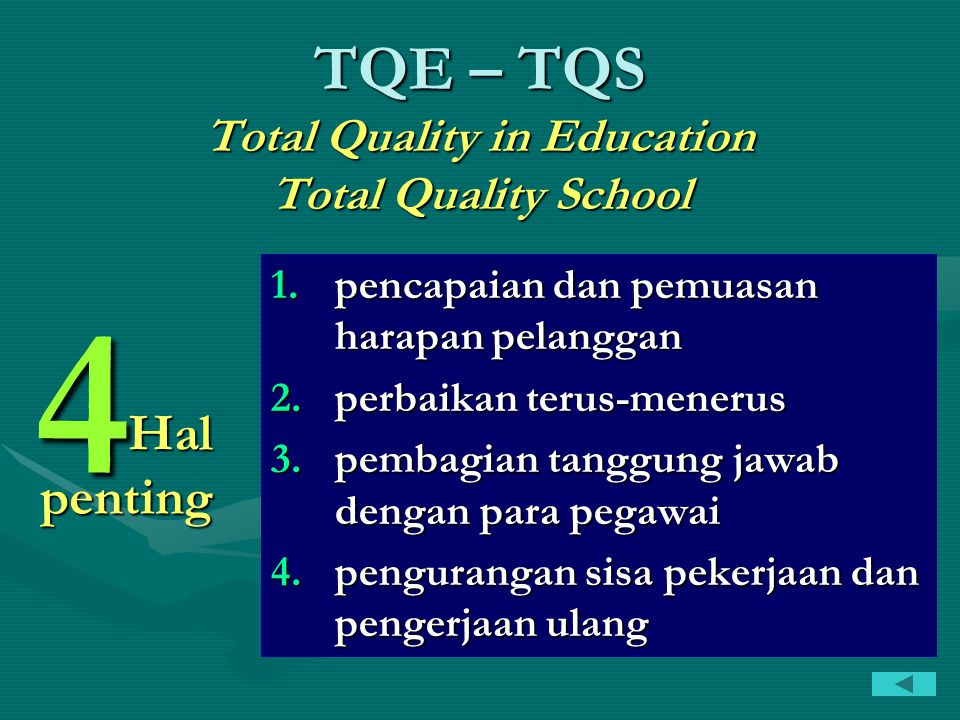 TQE – TQS Total Quality in Education Total Quality School