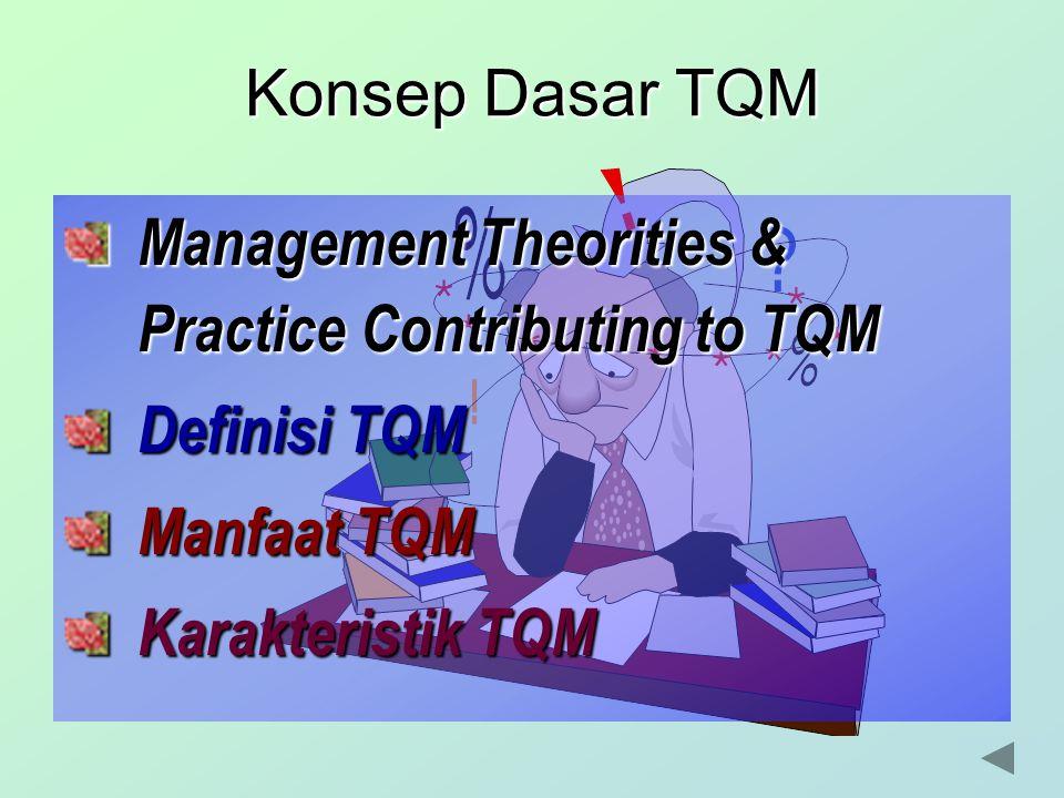 Konsep Dasar TQM Management Theorities & Practice Contributing to TQM. Definisi TQM. Manfaat TQM.