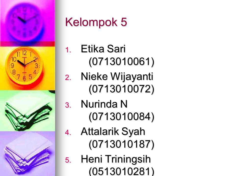 Kelompok 5 Etika Sari (0713010061) Nieke Wijayanti (0713010072)