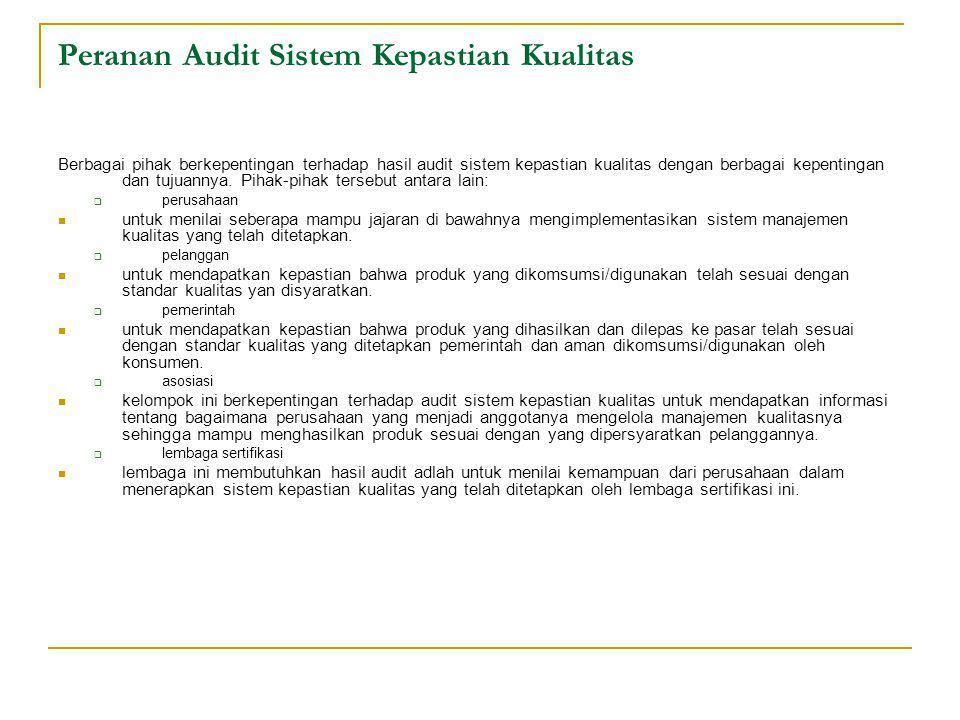 Peranan Audit Sistem Kepastian Kualitas