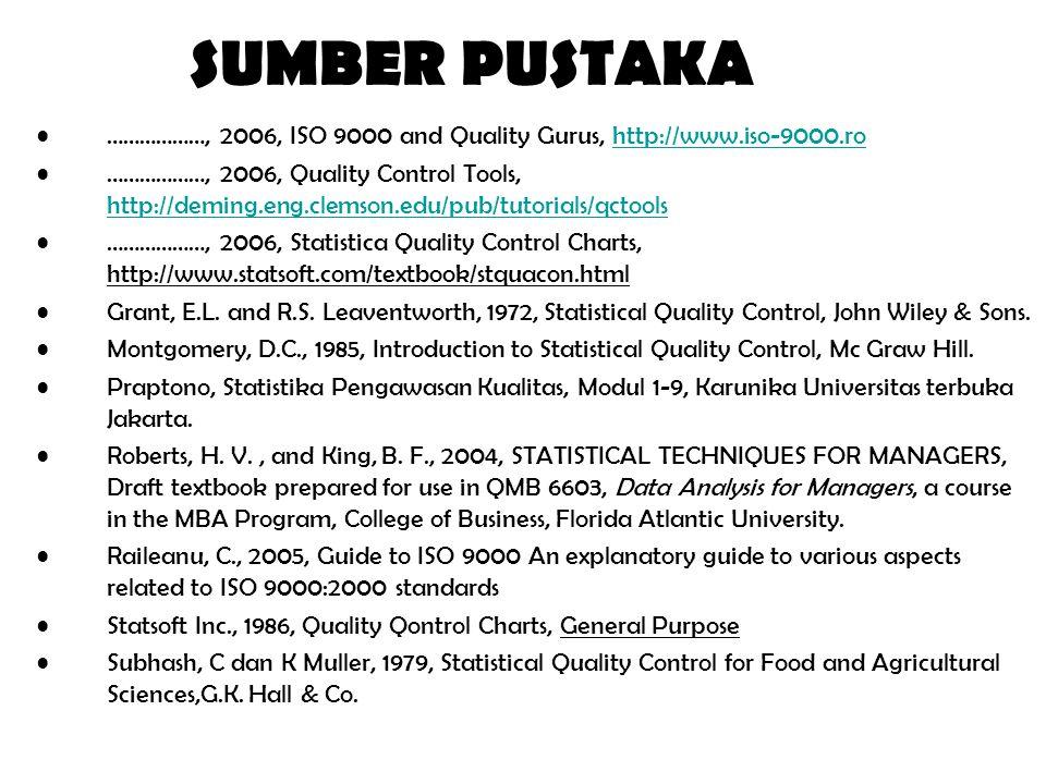 SUMBER PUSTAKA ………………, 2006, ISO 9000 and Quality Gurus, http://www.iso-9000.ro.