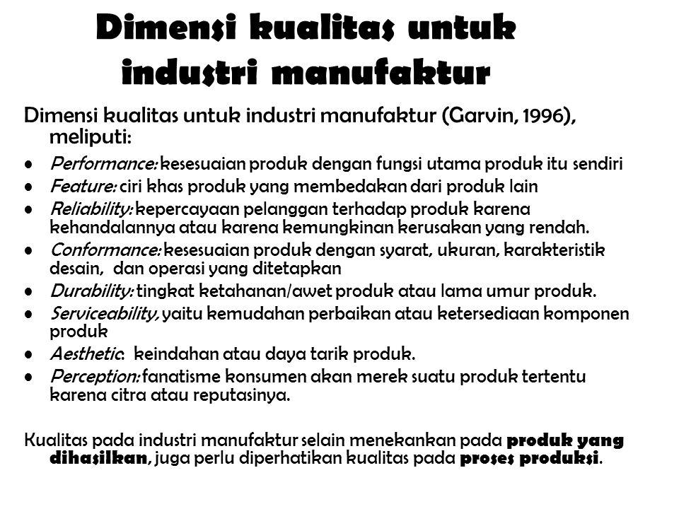 Dimensi kualitas untuk industri manufaktur