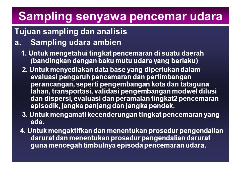 Sampling senyawa pencemar udara