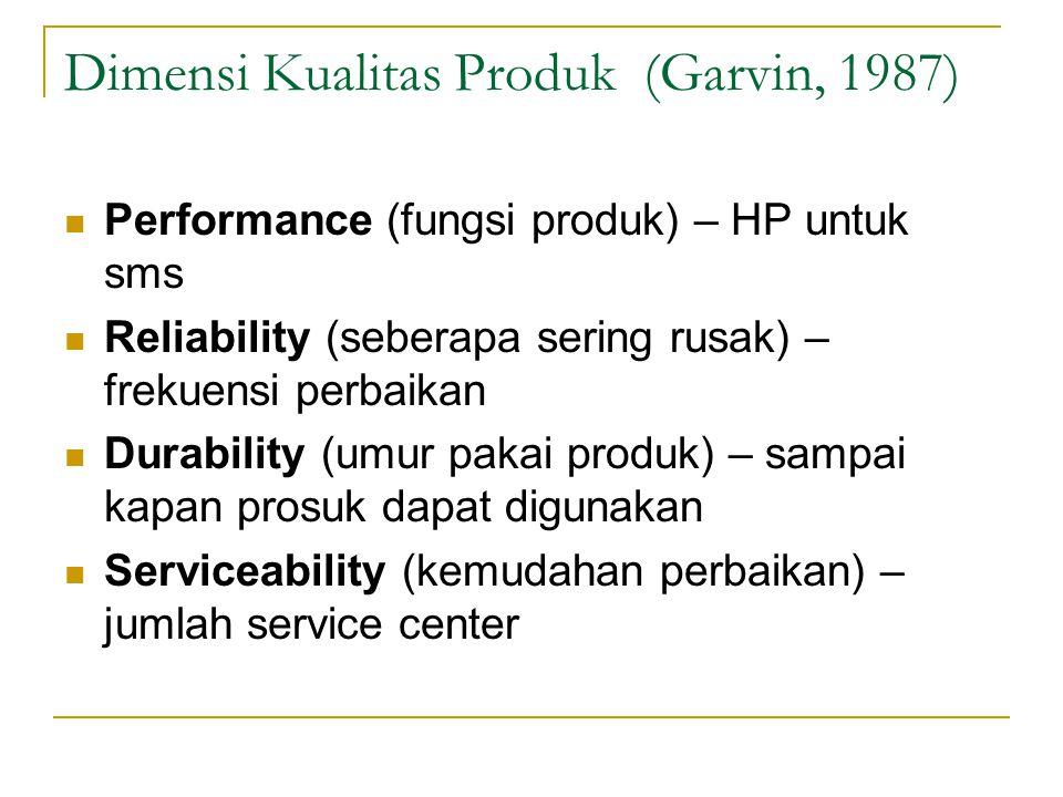 Dimensi Kualitas Produk (Garvin, 1987)
