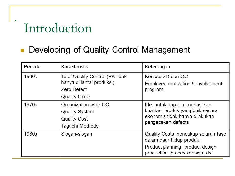 . Introduction Developing of Quality Control Management Periode