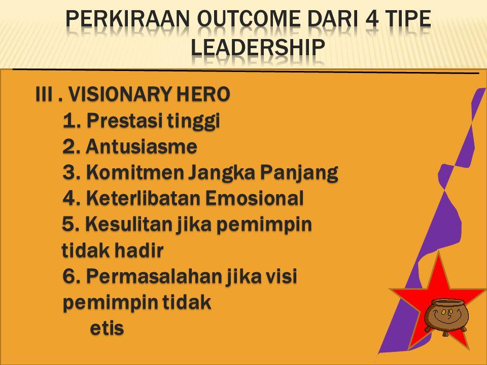 Perkiraan Outcome dari 4 Tipe Leadership