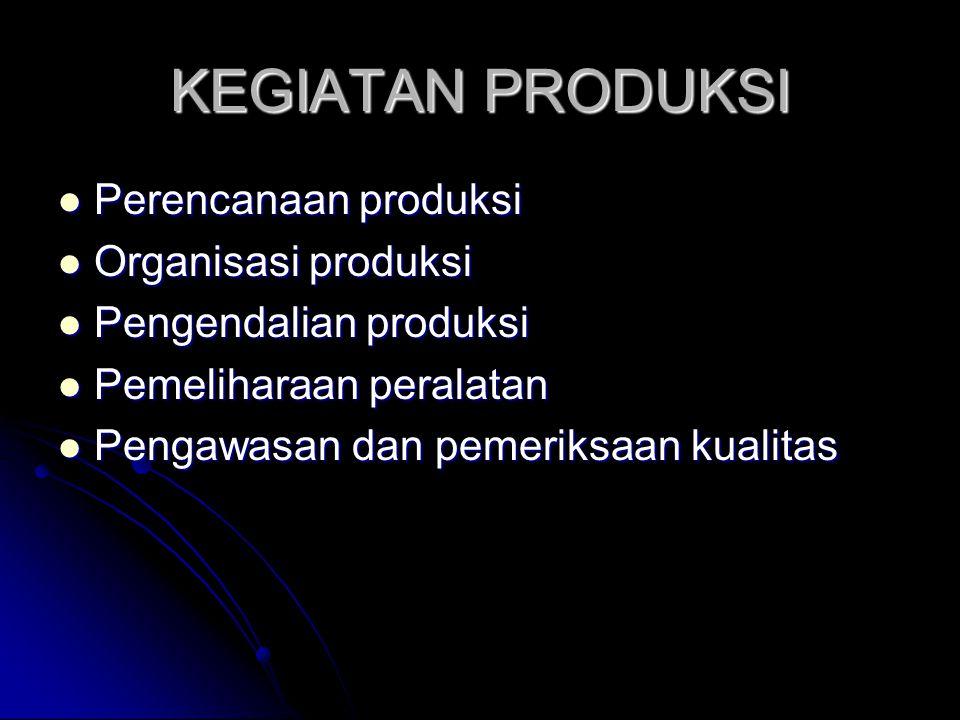 KEGIATAN PRODUKSI Perencanaan produksi Organisasi produksi