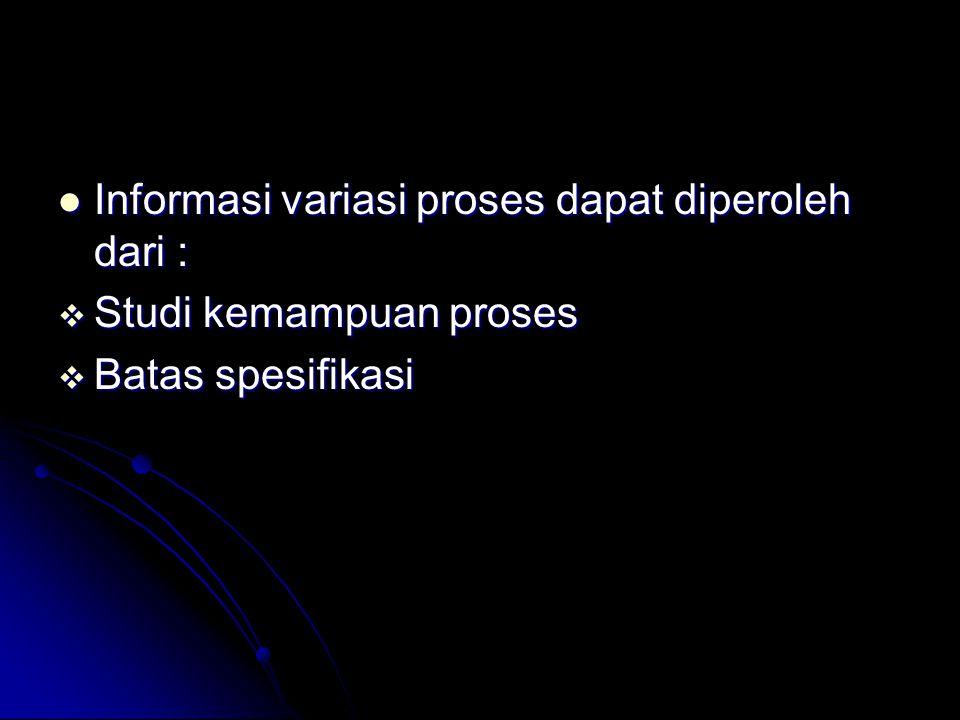 Informasi variasi proses dapat diperoleh dari :