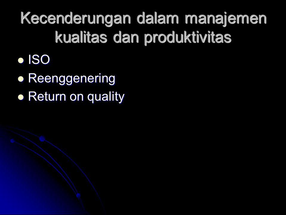 Kecenderungan dalam manajemen kualitas dan produktivitas